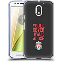 Official Liverpool Football Club Stencil Black Crest You'll Never Walk Alone Soft Gel Case for Motorola Moto E3 Power