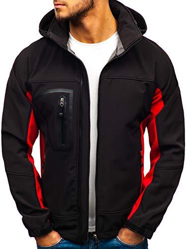 BOLF Herren Softshell Funktionsjacke Kapuze Outdoor Sportlicher Stil FREESTEP T019 Schwarz-Rot L [4D4] (Fitness Jacke)