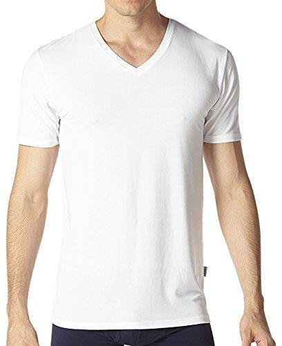 Lapasa 2er Pack Herren T-Shirts - Super Weiches Micromodal - Business Kurzarm Unterhemd mit V-Ausschnitt Für Männer M08 (Weiches Baumwoll-t-shirt)