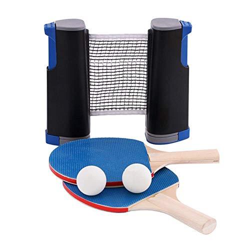 Bestlle Tragbares Tischtennis-Set, einziehbares sofortiges Ping-Pong-Netz, einstellbar für Indoor-Outdoor-Sportreisen