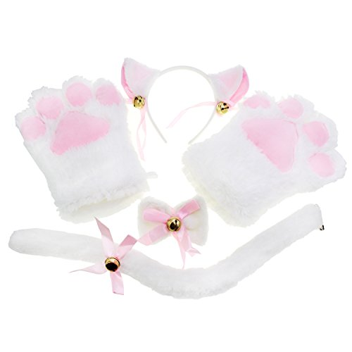 KEESIN Katze Cosplay Set Plüsch Klaue Handschuhe Katze Kätzchen Ohren Schwanz Kragen Pfoten Cute Adorable Party Kostüm Set für Kinder und Erwachsene - Weiße Katze Kostüm