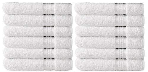 Cotton Craft – Collection Serviette Ultra Doux – Pur Coton Luxe 650 Gram avec Bande de Rayonne – Facile d'entretien Lavable en Machine Idéal pour Une Utilisation Quotidienne, Coton, Blanc, Wash 12PK