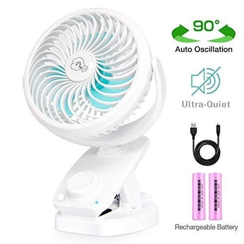 IREENUO Schreibtisch Fan Clip Stufenlose Geschwindigkeit Tragbare Auto  Oszillierende Fan USB Für Kinderwagen Auto Schlafzimmer Büro