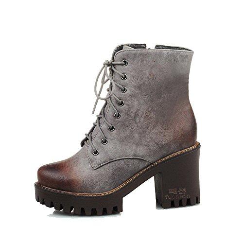 VogueZone009 Damen Rein Weiches Material Hoher Absatz Reißverschluss Schließen Zehe Stiefel, Grau, 32