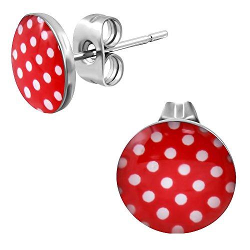 Ohrstecker Polka Dot Rot Weiße Punkte – Rockabilly Ohrringe für Damen Ø 10mm Edelstahl - 2