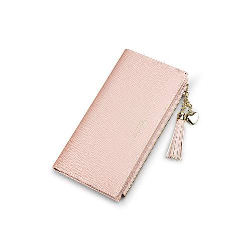Portemonnaie Damen Brieftaschen Für Frauen Geldbörse Mit Handyfach Leder Geldbeutel Gross Geldtasche (Rosa)