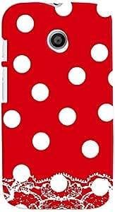 PRINTVISA Pattern Polka Dots Red Case Cover for Motorola Moto E (Multicolour)
