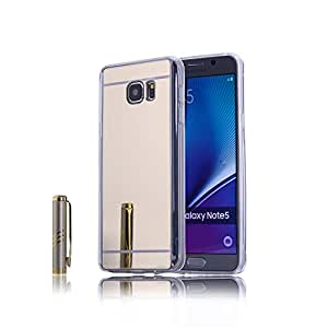 Go Crazzy SAMSUNG NOTE 5 New Luxury Soft Silicon Electroplated Mirror Finish Back Cover Frame Case for SAMSUNG NOTE 5 (GOLD) With free 4 in 1 USB sync data charger cable cord for all Android & ios (Multi)