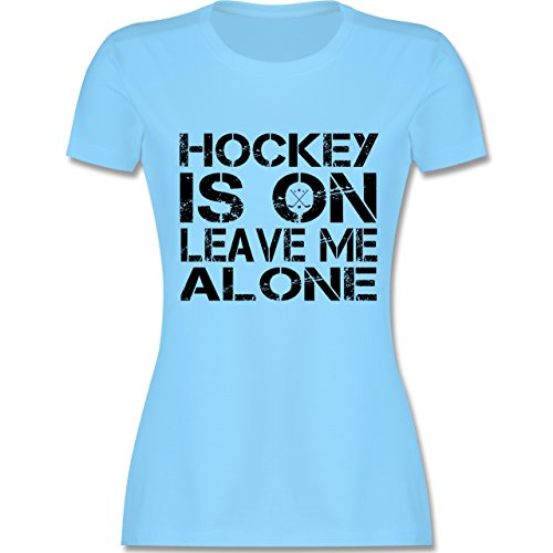 Eishockey - Hockey is On - S - Hellblau - L191 - Damen T-Shirt Rundhals