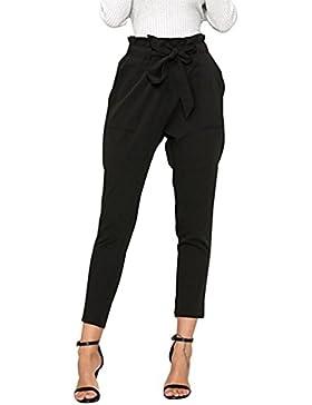 Juleya Casual Fit Pantalones de Talle Alto Harem Regulares de la Mujer Pantalones de Cintura con cordón