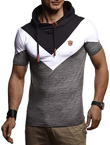 LEIF NELSON Herren Sommer T-Shirt Polo Kragen Slim Fit Baumwolle-Anteil | Basic Anthrazites Männer Poloshirts Longsleeve-Sweatshirt kurzarm | Weißes Shirt kurzarmshirts lang | LN4845 Anthrazit X-Large