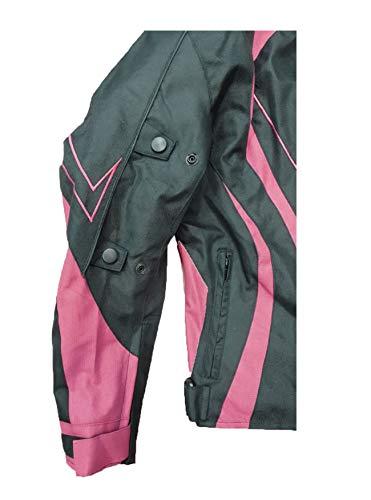 Juicy Trendz Damen Motorradjacke Frauen Wasserdicht Cordura Textil Motorrad jacke Pink Large - 4