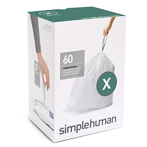 simplehuman CW0162, Sacchetti Adattabili per l'Immondizia, Codice X - 80 L, 60 Sacchetti