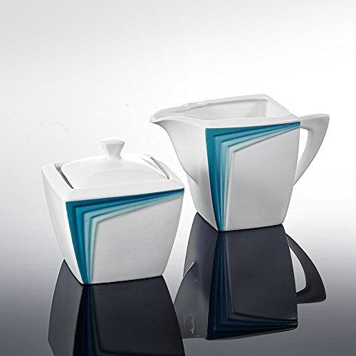 Malacasa, serie Rebeca, Porcellana, 3pezzi in porcellana, bianco avorio, blu bianco cena set in ceramica color crema con-1-Set Zuccheriera e bricco per latte (2pezzi con coperchio)