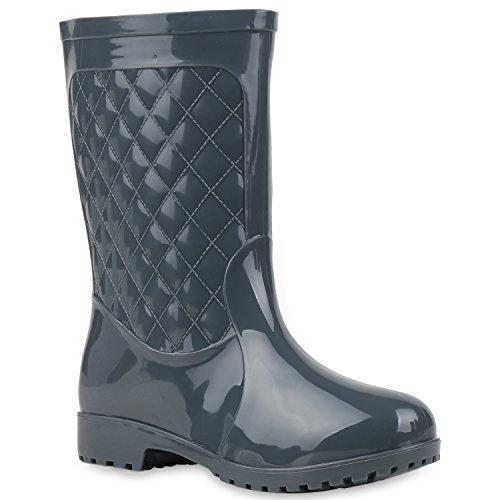 Warm Gefütterte Stiefel | Damen Gummistiefel | Kunstfell Gesteppt | Wasserdichte Schuhe Lackleder-Optik| Winter Boots | Regenschuhe Grau