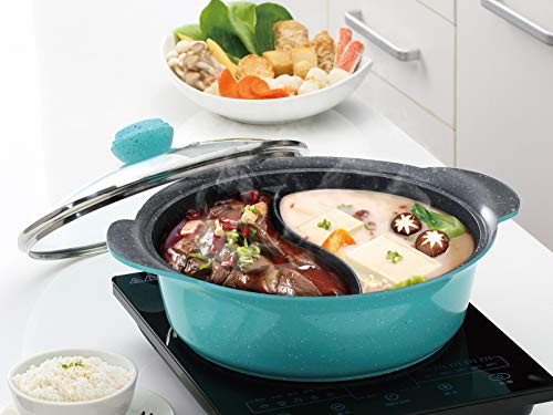 Haufson Hot Pot, Yin Yang Hotpot, 28cm 2lati zuppa cucina casseruola, pentola antiaderente, cinese Hotpot