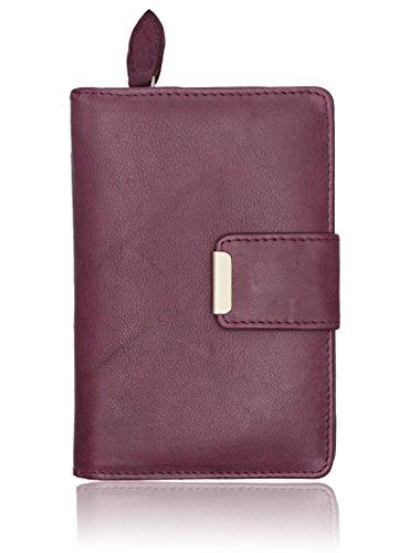 Autiga Leder Geldbörse Damen Geldbeutel Portemonnaie Echt Leder Brieftasche Druckknopf Reißverschluss bordeaux