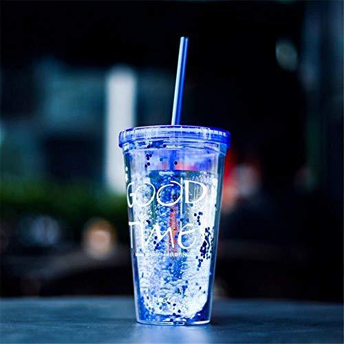 PLDKFB Kaffeetasse Sommer Tragbare Eisbecher Getränkebecher Reise Eiskaffee Tasse Wasserflasche Tasse Kunststoff Getränke Tasse Mit Stroh Drink 450 Ml, Blau