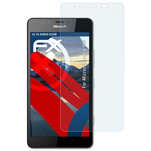 atFolix Schutzfolie kompatibel mit Microsoft Lumia 950 Panzerfolie, ultraklare & stoßdämpfende FX Folie (3X)