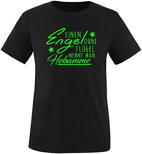 EZYshirt® Ein Engel ohne Flügel nennt man Hebamme Herren Rundhals T-Shirt Schwarz/Neongrün