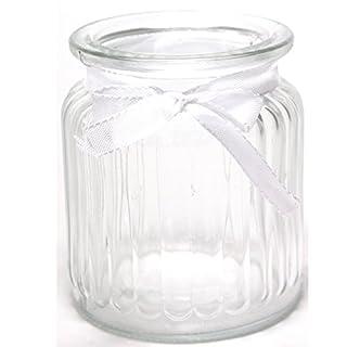 Annastore 12 Stück Windlichter Jana H 9 cm inklusive Dekoband und 12 Herzen mit Öse zum Hängen - Dekoband und Herzen als Beigabe werden separat mitgeliefert - Vase Teelichtgläser Tischvase