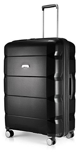 HAUPTSTADTKOFFER - Britz - Hartschalen-Koffer Koffer Trolley Rollkoffer Reisekoffer Erweiterbar, 4 Rollen, TSA, 75 cm, 115 Liter, Schwarz