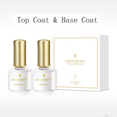 Born Pretty Base Coat Top Coat Kit Transparent Soak-off UV Gel Polish Manicure Nail Art Lacquer -