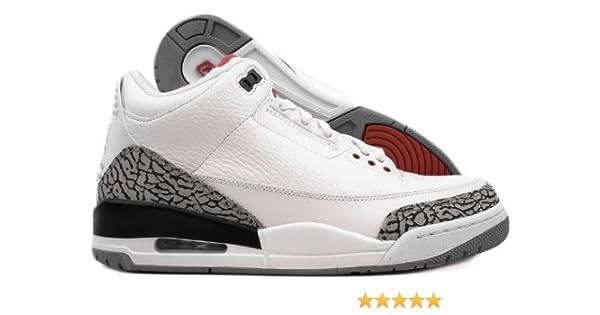 pretty nice 123fd 5f57c Nike Men s Air Jordan 3 Retro 2011 Basketball Shoe WHITE/FIRE RED-CEMENT  GREY-BLK 8.5 D(M) US