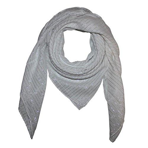 Superfreak® Baumwolltuch mit Silber Lurex - Tuch - Schal - 100x100 cm - 100% Baumwolle Farbe: weiß