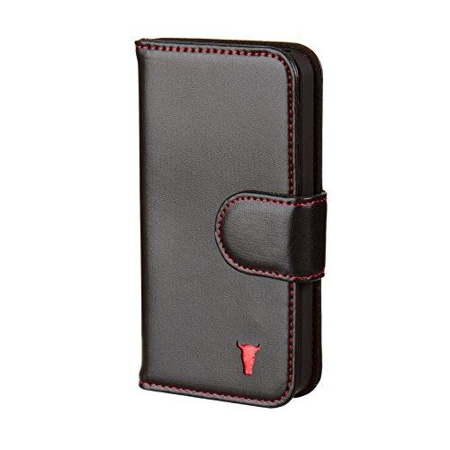 TORRO Ledertasche kompatibel mit iPhone SE/iPhone 5S / iPhone 5 Hülle, Echtleder Brieftasche mit Bargeld/Visitenkartenslot, aus echtem italienischem Leder, Schwarz