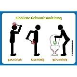 4x Klobürste Gebrauchsanleitung Aufkleber: Klobürste nutzen, Gebrauchsanleitung Wie man's macht und wie nicht @immi.de