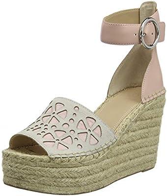 Guess Kalee/Zeppa (Wedge)/Suede, Zapatos con Tacon y Correa de Tobillo para Mujer, Beige (Ivory Blush), 37 EU