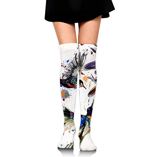 Watercolor Art Series,Beautiful Back with Lily Flowers and Birds Customized Long Full-Length Socks - Running, Sports, Travel, Cycling, Traveling 25.6 Inchs Black - Aqua Flower Girl