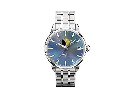 Ball Trainmaster Moon Phase Ladies Automatic Watch, Blue, NL3082D-SJ-BE