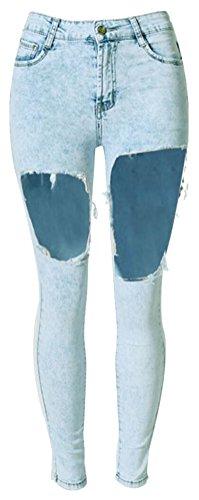 SMITHROAD Damenjeans Bleached Jeanshose Ripped Zerrissen Used Look mit Löcher  Gr34 bis 42 Blau