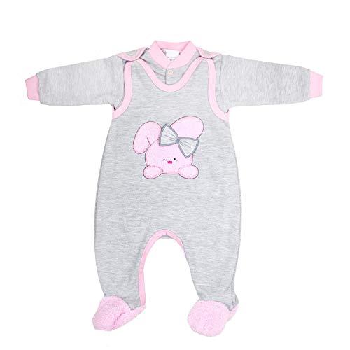 TupTam Baby Mädchen Strampler mit Babyjäckchen 2-tlg. Set, Farbe: Grau Meliert/Rosa, Größe: 56