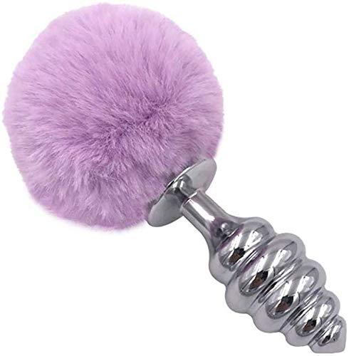 xy Hellpurpurnes Faux-Kaninchen-Endstück Cosplay Spielzeug Edelstahl Fun-Plug Paar Spielzeug Metall-Stecker, Style 3 (Farbe, L),L