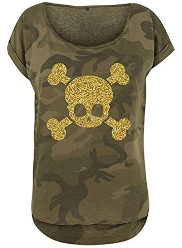 Livingstyle & Wanddesign Damen Camouflage T-Shirt Glitzer Totenkopf Olive Camo Gold, Gr. L -