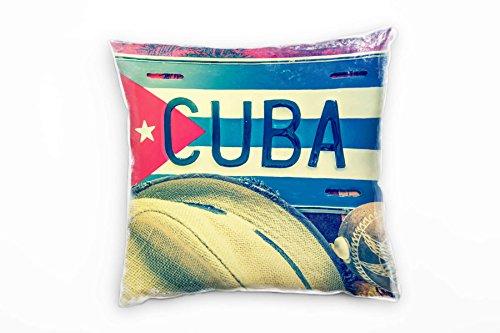 Paul Sinus Art Urban, Schild, Kuba, Sonnenhut, Rot, Beige Deko Kissen 40x40cm für Couch Sofa Lounge...