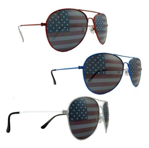 Unbekannt Unknown 3 Amerikanische Flagge Aviator Sonnenbrille Rot Weiß Blau Frames 1A rot Weiß Blau