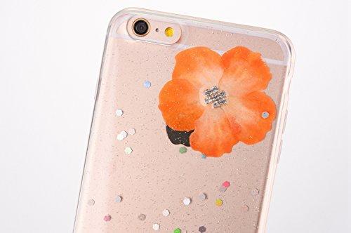 Cover iPhone 7 / 8 - Custodia in Glitter Silicone TPU - Surakey Belle iPhone 7 Custodia Brillantini Fiore Bling Diamante Trasparente Slim Ultra Sottile Gomma Morbida Gel Case Antigraffio Antiurto Fles Giallo
