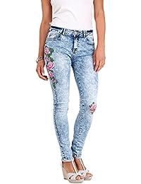 KRISP® Femmes Jeans Skinny Denim Délavé à Fleurs Brodées et Perles