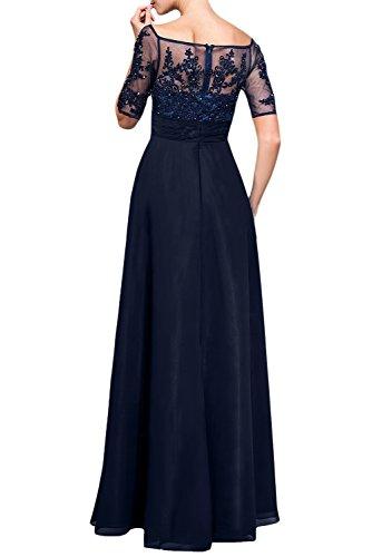 Damen Chiffon Spitze Lang 1/2 Aermel Abendkleider Partykleider Abiiballkleider FBA009 190173