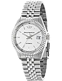 Philip Caribe Men's Automatic Watch with White Dial Time Teacher Display and Silver Stainless Steel Strap R8223597009