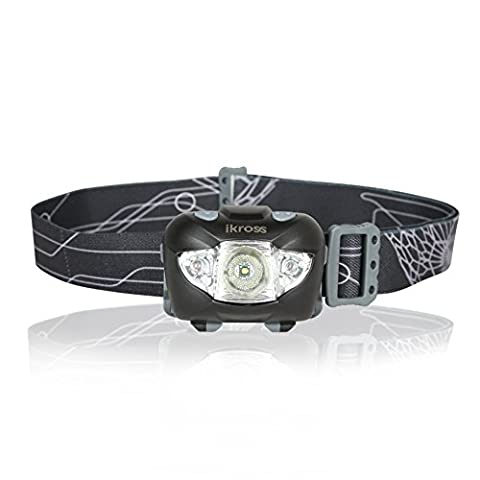 iKross LED Headlamp, Ultra Bright White/Red LED Head Torch Waterproof Outdoor Head Flashlight Battery Powered for Hiking, Running, Camping, Reading, Fishing, Hunting, Walking, Jogging, Cycling –