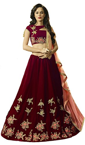 Lovisa Fashion Women's BlackBerry Maroon Velvet Choli (pankhidamaroon_Maroon_Semi-Stitched_Choli)
