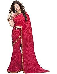 Pramukh Saris Women's Georgette Saree With Blouse Piece (P Pink Cheks_Pink)