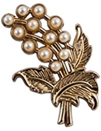 Knighthood Gold Flower With Pearl And Flower Detailing Lapel Pin/Shirt Stud