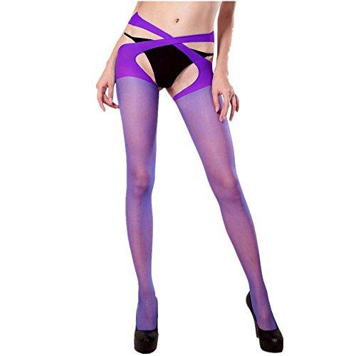 Damen Mode Halterlose Strümpfe, ZIYOU Strapsstrümpfe Strumpfbänder Cross Open Strumpfhalter Strumpfhosen (Violett) (Mikrofaser-strumpfband)