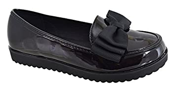 b50f76e44fd EYESONTOES Womens Ladies Flat Creeper Chunky Sole School Work Dolly Loafers  Bow Shoes Size